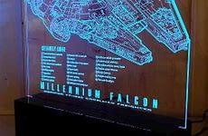 Millennium Falcon Laser Engraved